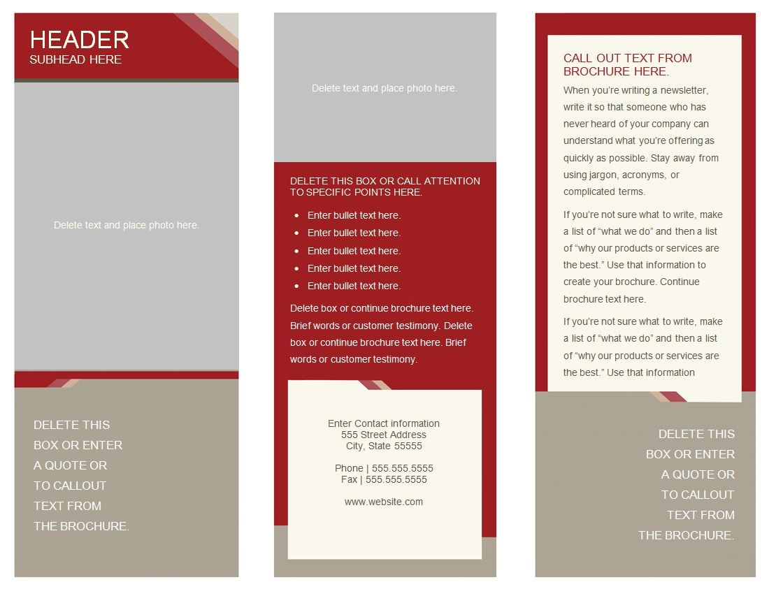 Template for Brochure Free Download 6 Best Images Of Free Printable Brochure Templates Online