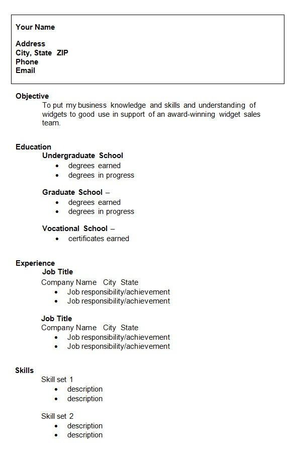 college resume template