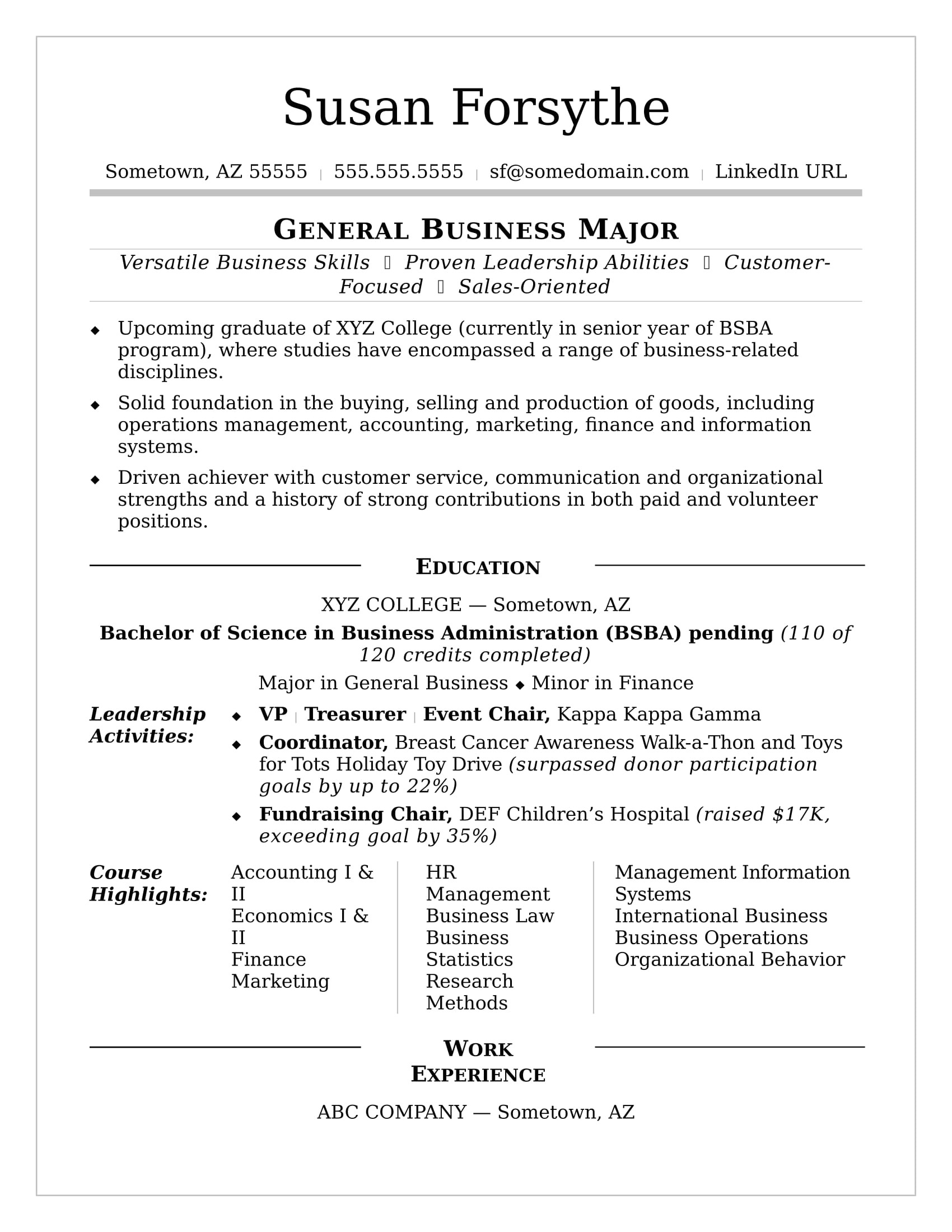 Template for College Resume College Resume Sample Monster Com