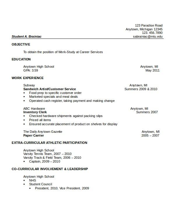 impressive high school resumes