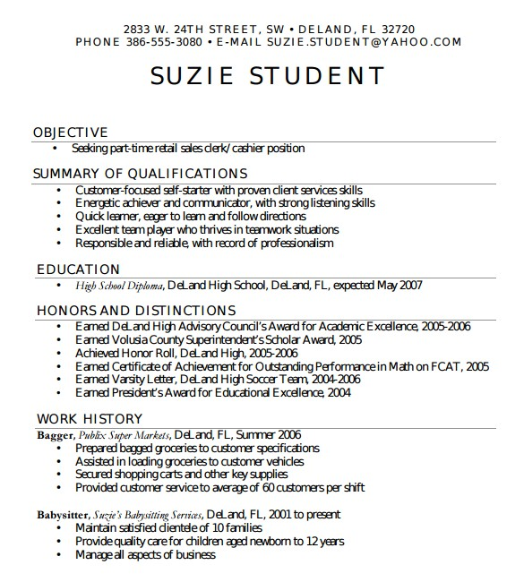 Template for High School Resume 7 Sample High School Resume Templates Sample Templates