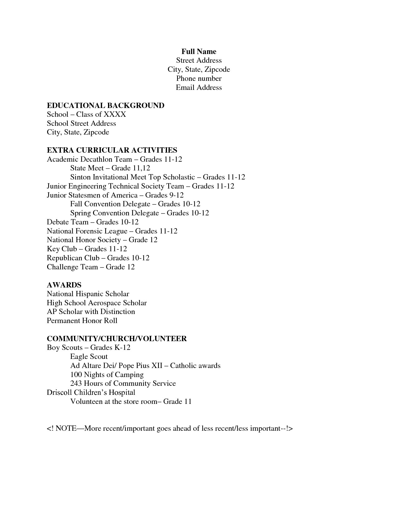 Template for High School Resume College Graduate Resume No Work Experience