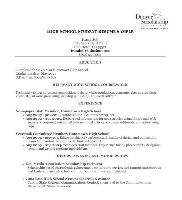 Template for High School Resume High School Student Resume Template Template Business