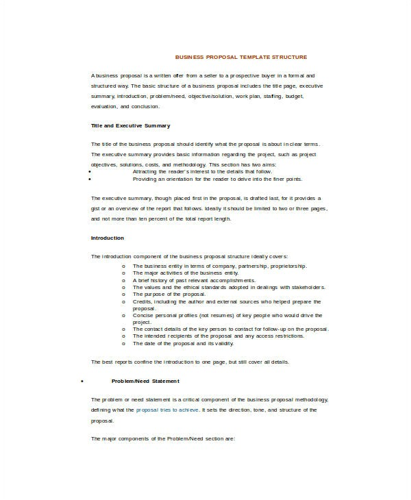 sample business proposal templates in word