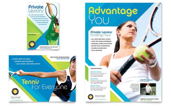 tennis club camp flyer ad template design sf0140701