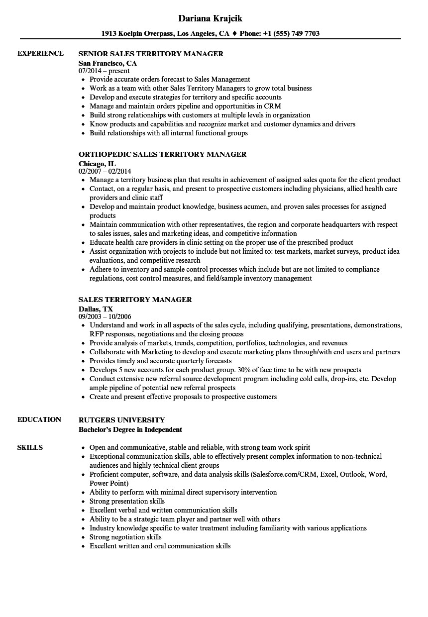 sales territory manager resume sample