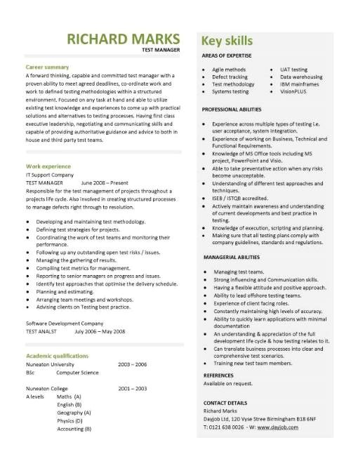Test Manager Resume Template Cv Template Examples Writing A Cv Curriculum Vitae
