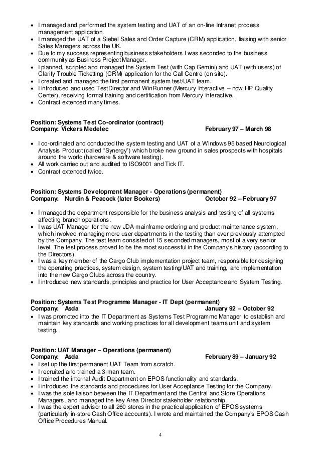 uat tester resume sample