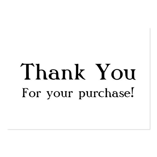 white thank you for your purchase cards business card 240637248090343029