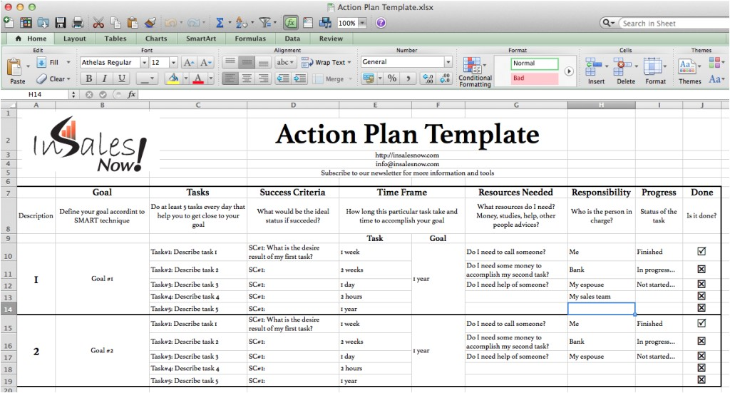 perfect business action plan template example in excel with goal and tasks and success criteria and progress