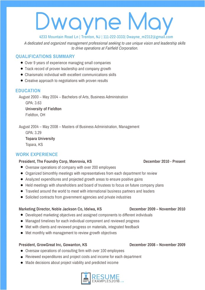 marketing resume examples 2018