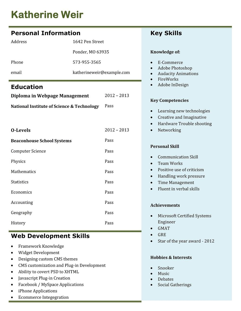 Top Resume Templates Free 9 Best Free Resume Templates Download for Freshers Best
