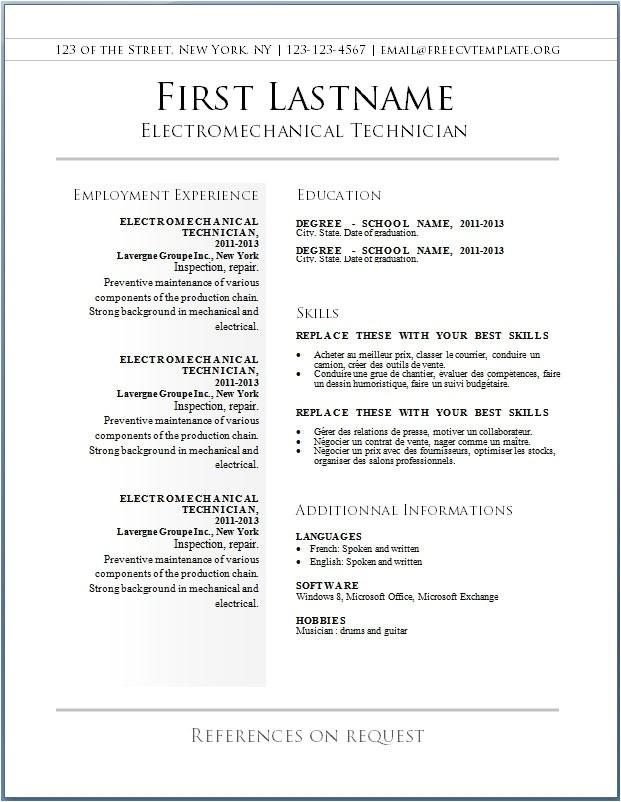 resume templates free 2017