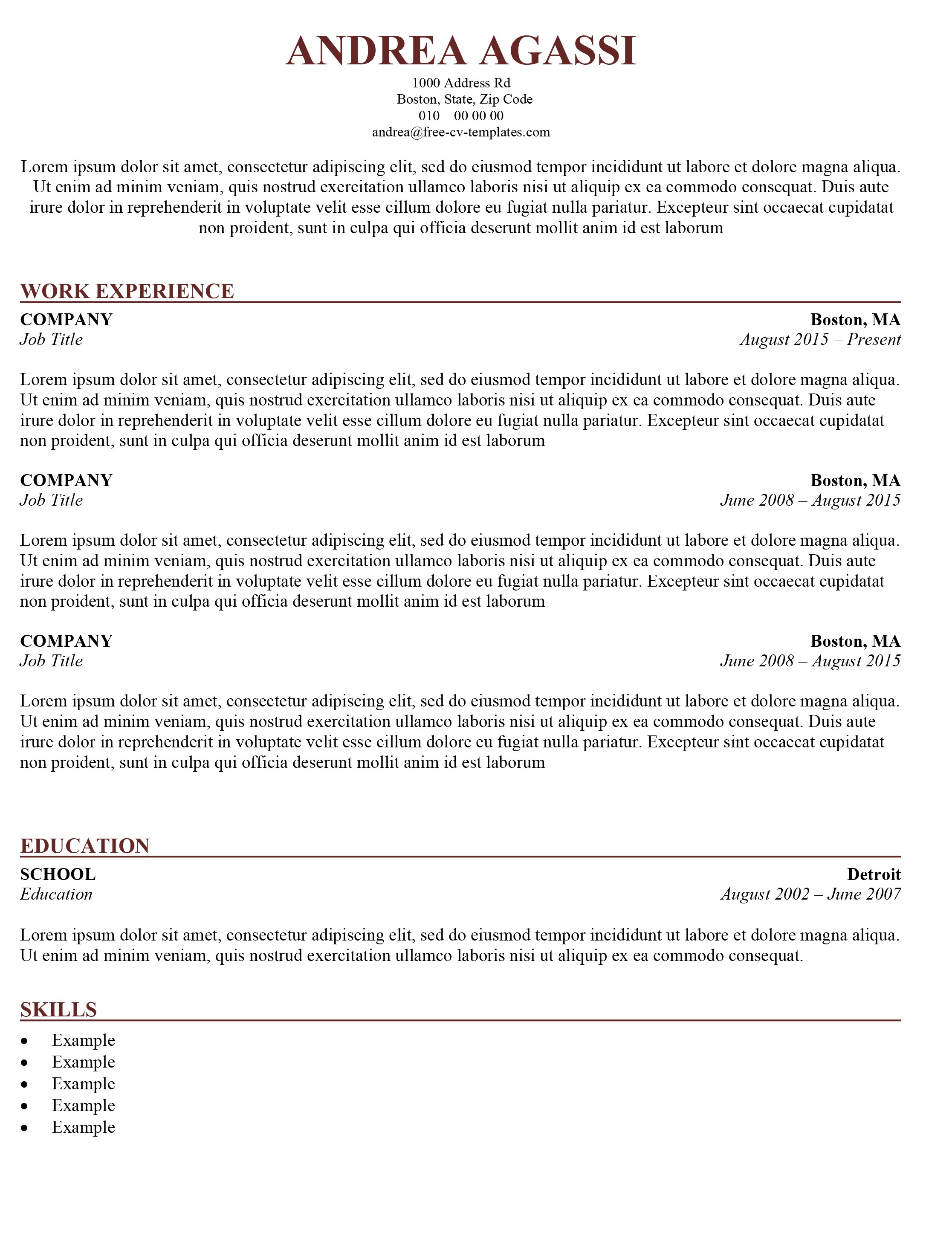 Traditional Resume Template Free Traditional Cv Template Download the Word Template for Free