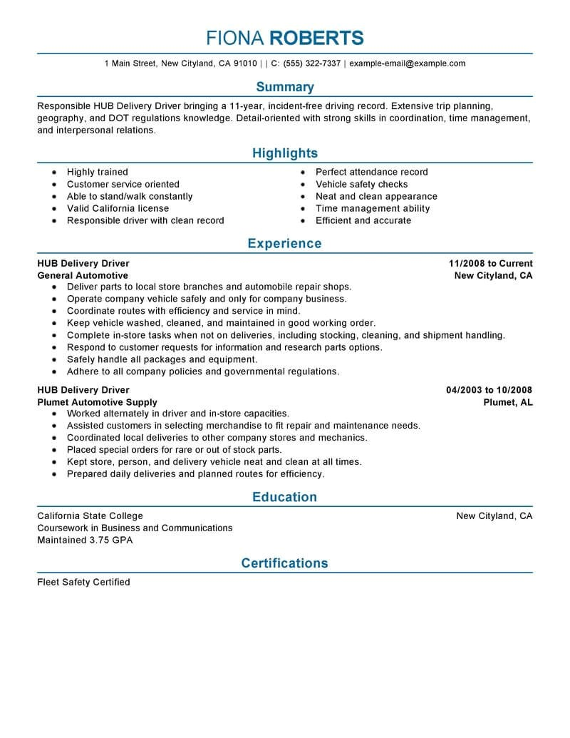 Transit Bus Driver Resume Samples 12 Amazing Transportation Resume Examples Livecareer