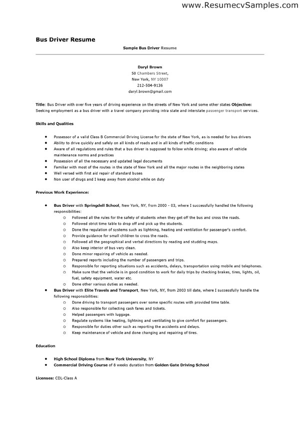 Transit Bus Driver Resume Samples School Bus Driver Resume the Best Resume