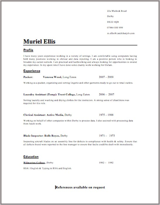 Uk Resume Template Cv Template Professional Cover Letter