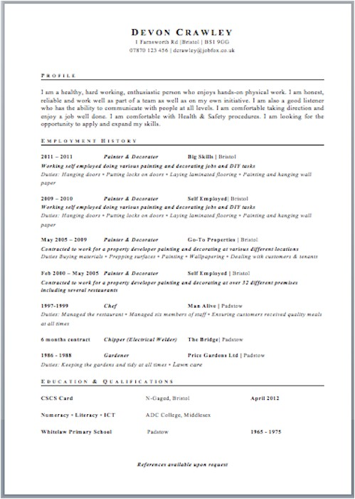 Uk Resume Template Cv Templates Jobfox Uk