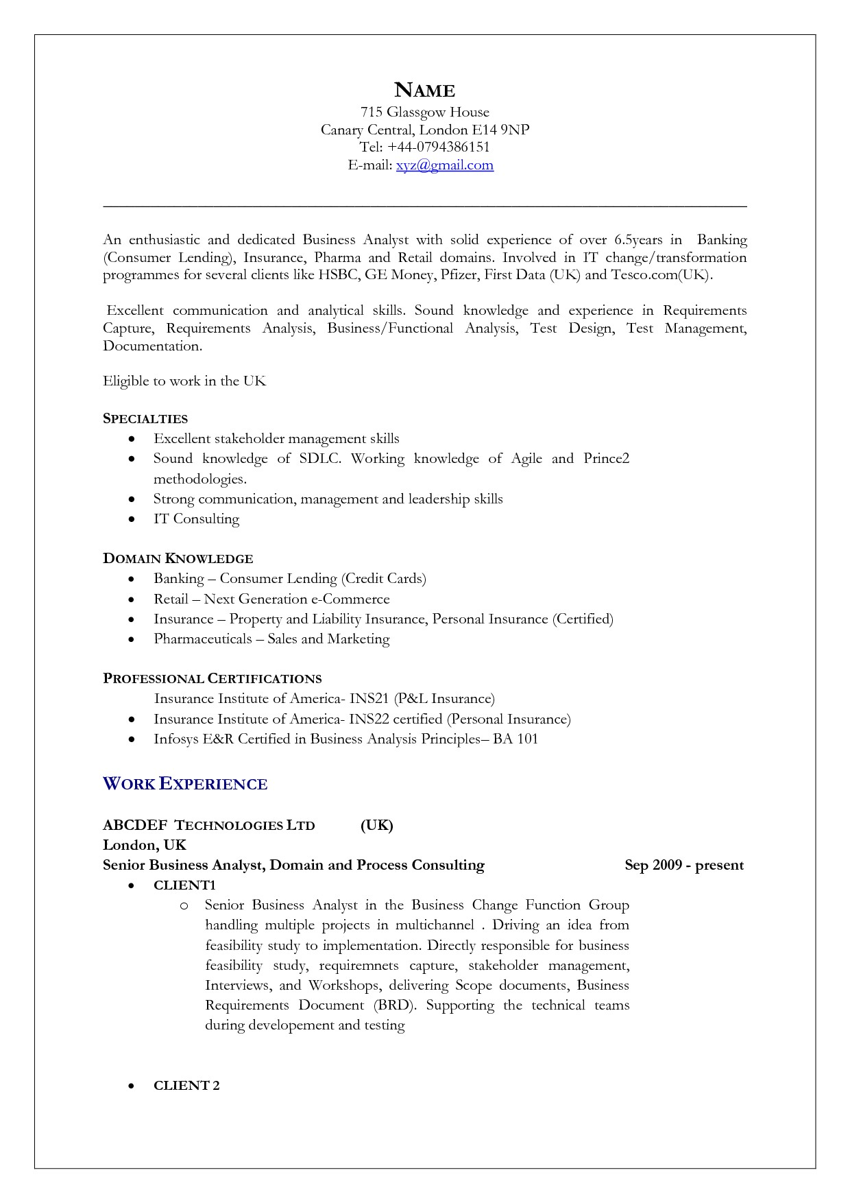 Uk Resume Template Uk Resume format Free Excel Templates