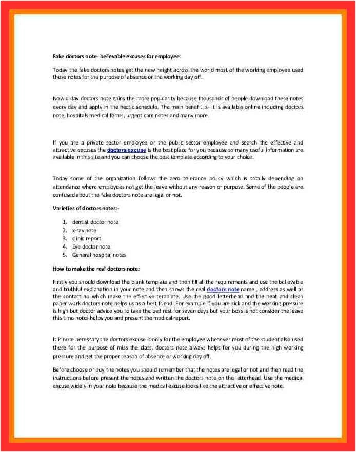 Urgent Care Resume Sample Fake Urgent Care Note Good Resume format