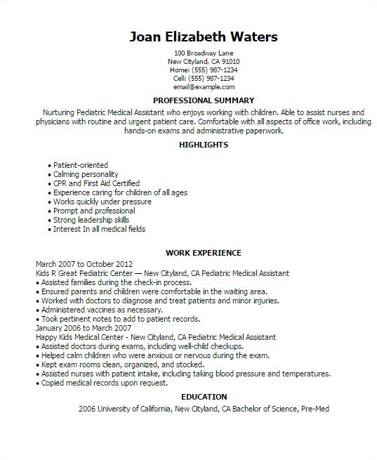 pediatric medical assistant