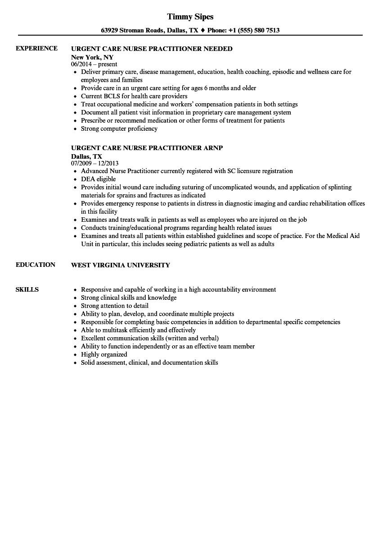 urgent care nurse practitioner resume sample