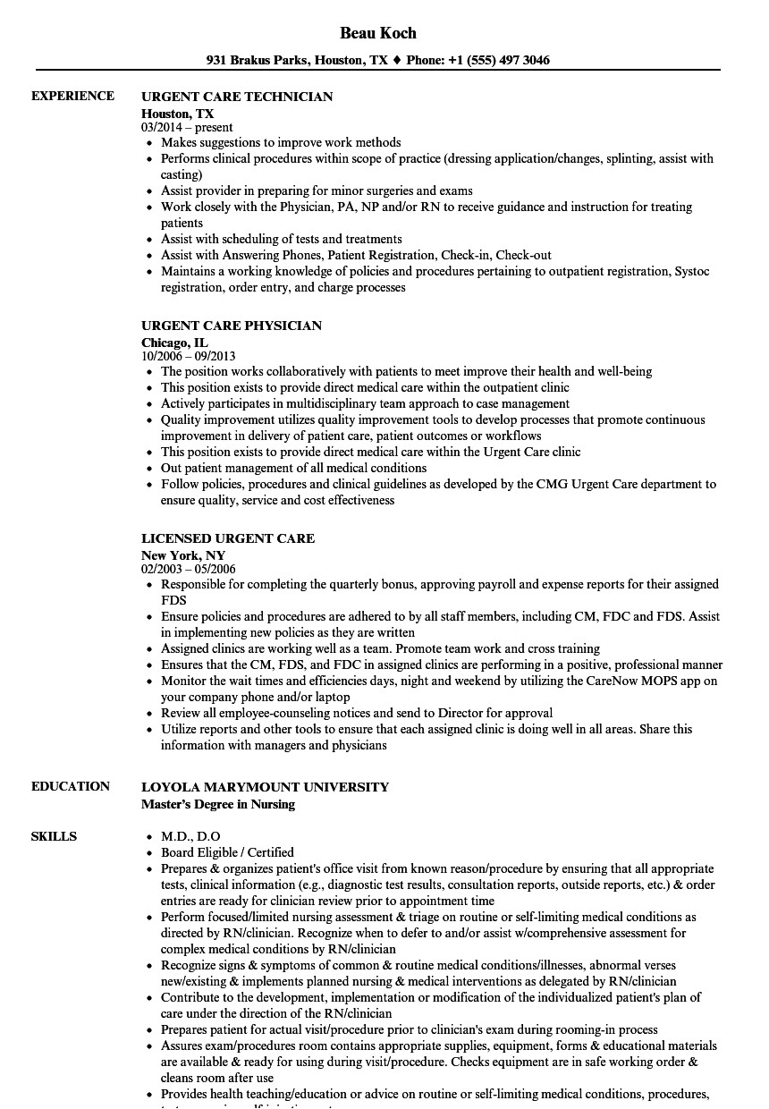 Urgent Care Resume Sample Urgent Care Resume Samples Velvet Jobs