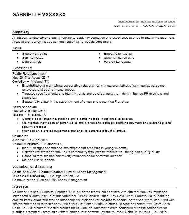 Volleyball Player Resume Template 53654 Sports Resume Examples Samples Livecareer