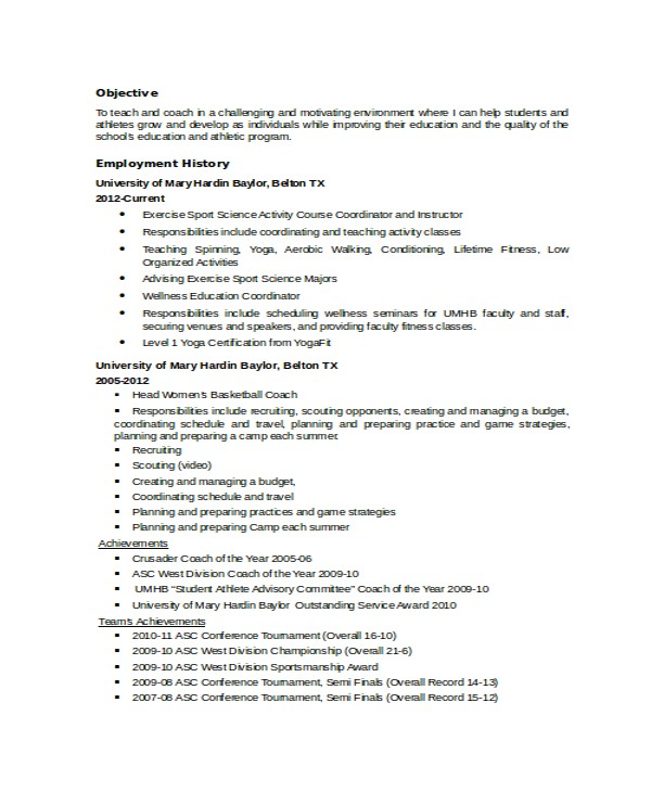 Volleyball Player Resume Template Coach Resume Template 6 Free Word Pdf Document