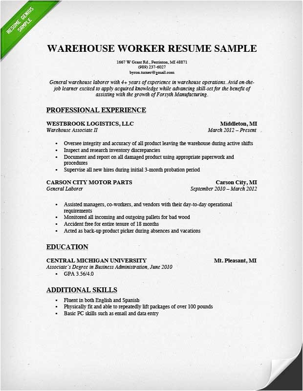 Warehouse Resume Templates Warehouse Worker Resume Sample Resume Genius