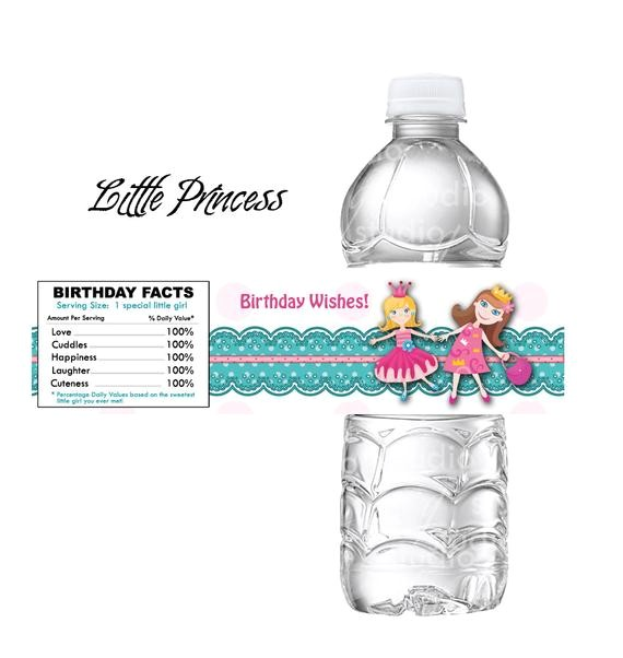 girls princess party water bottle label