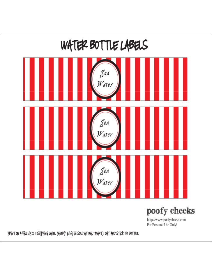Water Bottle Labels Template Avery Sample Water Bottle Label Free Download
