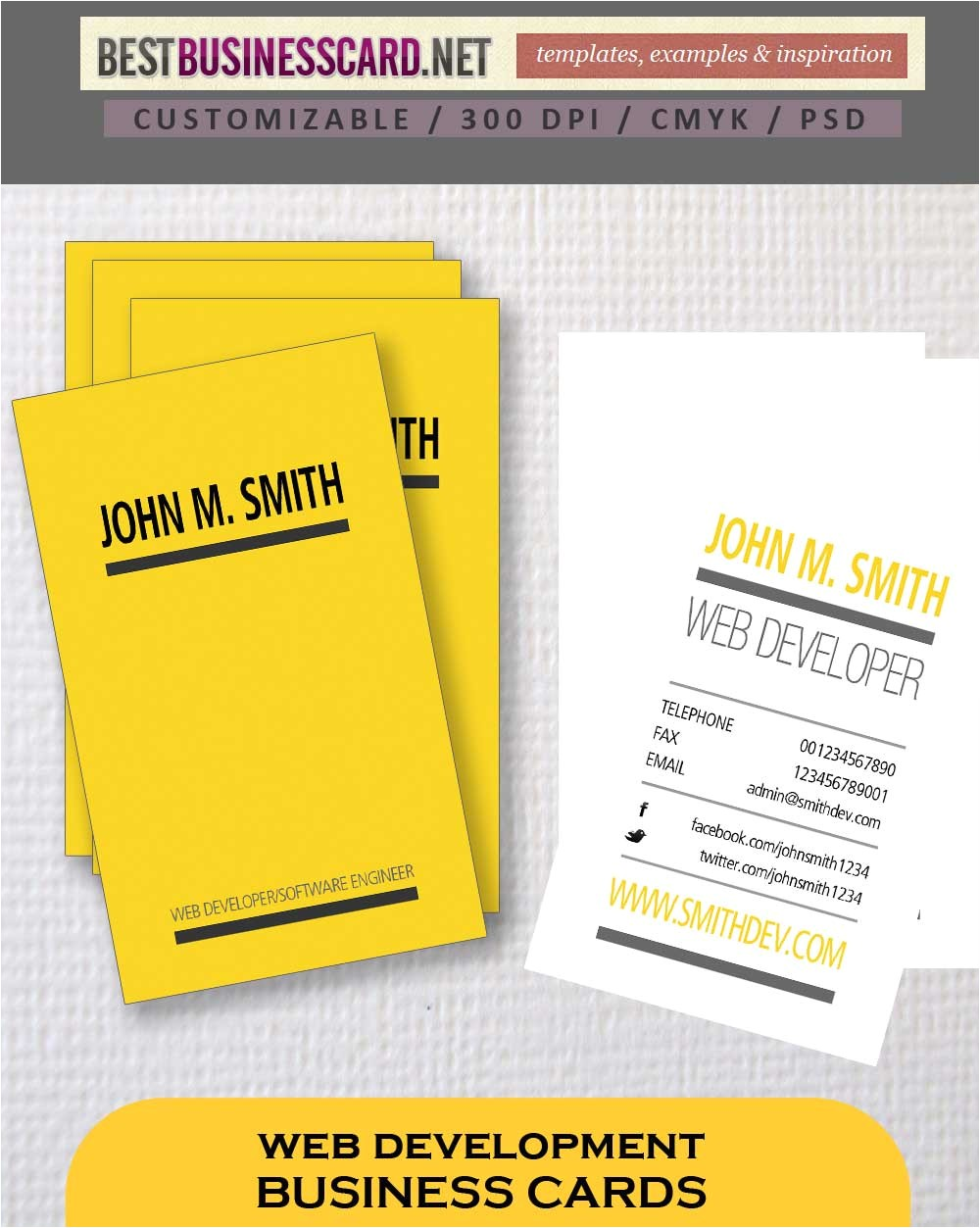 3 typographic web developer business card templates