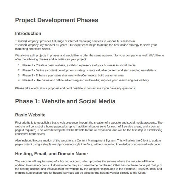 Web Development Project Proposal Template 9 Website Design Proposal Templates to Download Sample