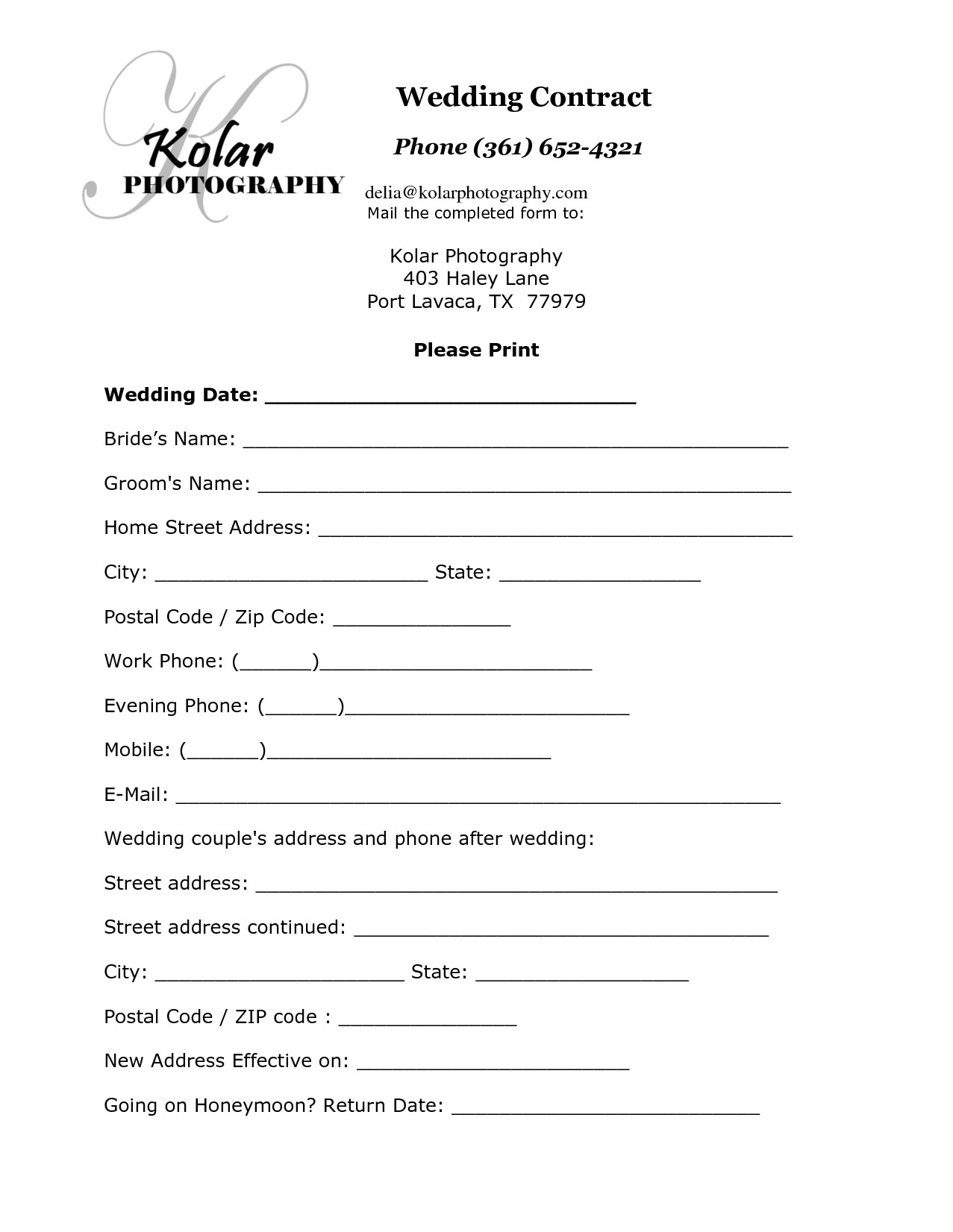 5 wedding photography contract template