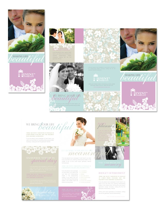 wedding event planning tri fold brochure template