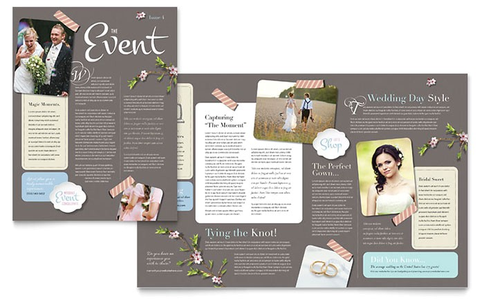 wedding planner newsletter template design we0010301