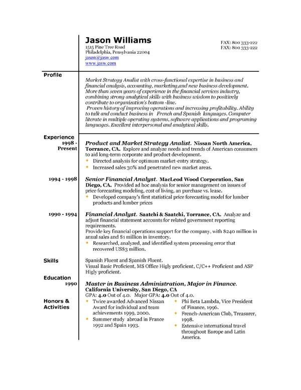 What Resume Template to Use Sample Resume 85 Free Sample Resumes by Easyjob Sample