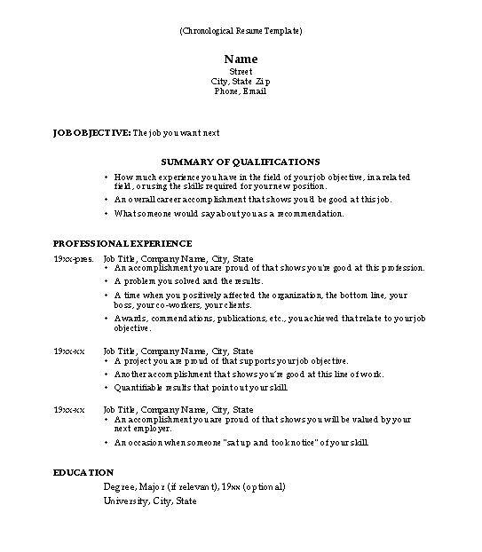 What Resume Template to Use why Use This Chronological Resume Template Susan Ireland