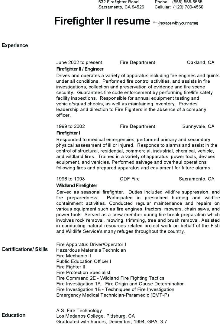 43 wildland firefighter resume sample experience