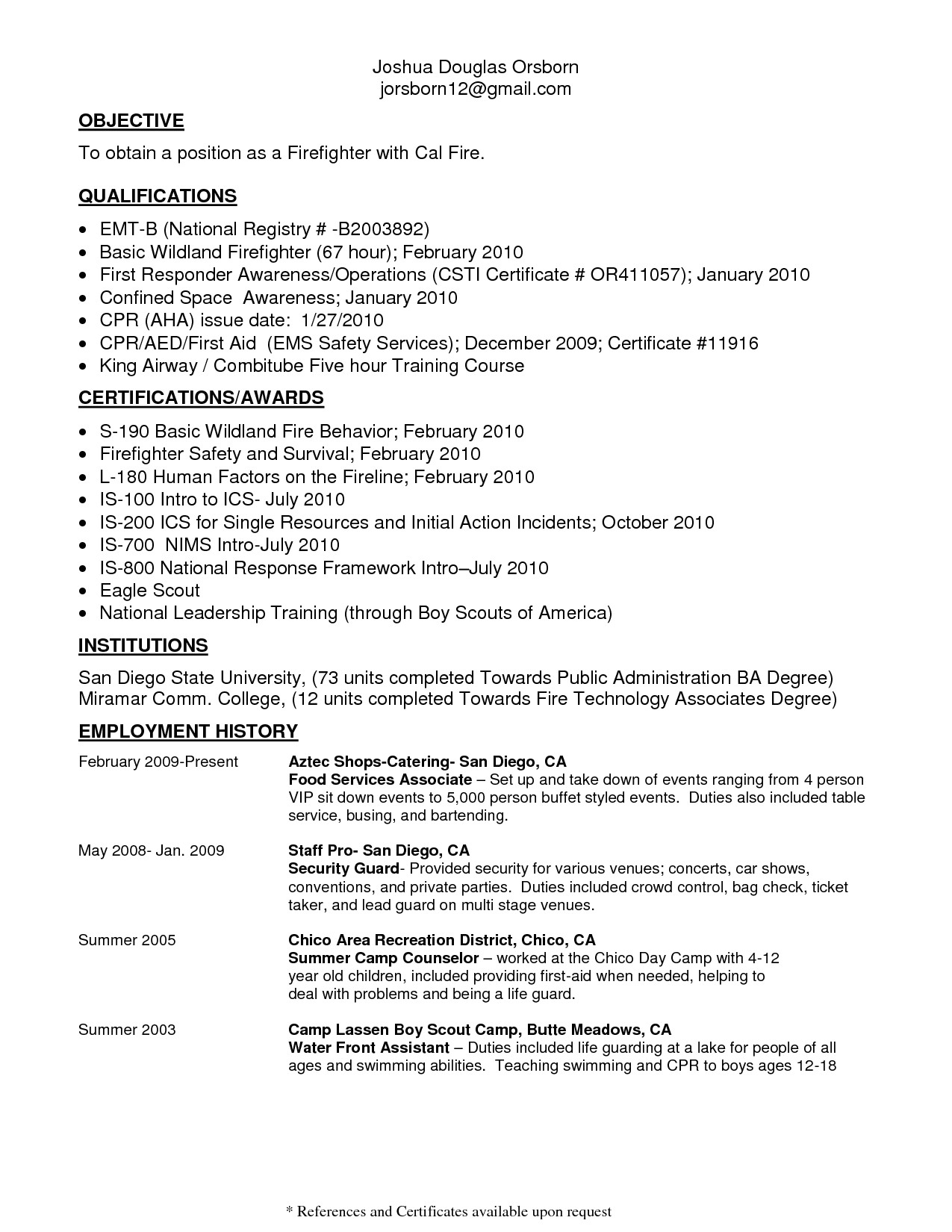 wildland firefighter resume
