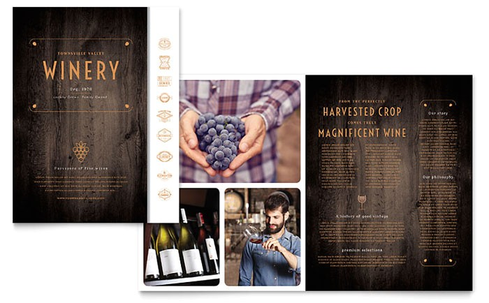 Wine Brochure Template Free Winery Brochure Template Design