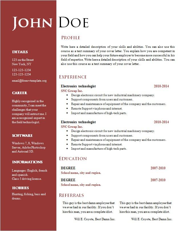 Word Document Resume Template Free Free Creative Resume Cv Template 547 to 553 Free Cv