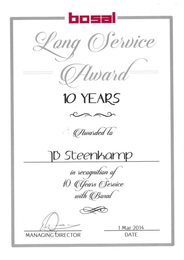 10 years long service award
