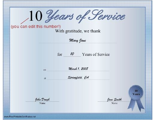 10 Year Service Award Certificate Template A Printable Certificate Thanking the Recipient for Any