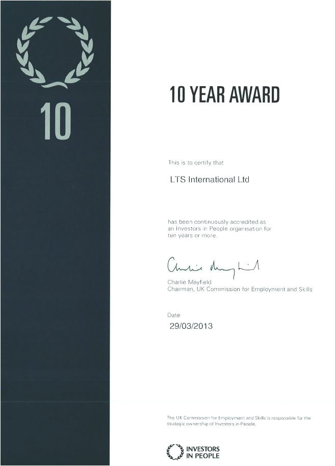 10 Year Service Award Certificate Template Quality Lts International