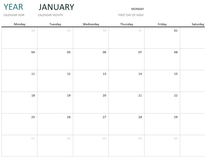 18 Month Calendar Template 18 Month Calendar Template Any Year One Month Calendar