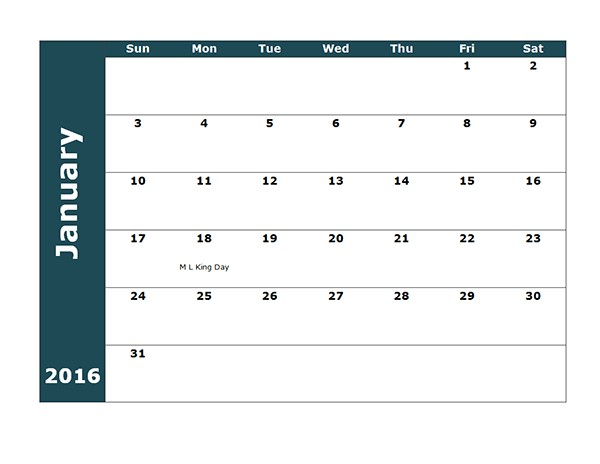 18 Month Calendar Template 2016 Monthly Calendar Template 18 Free Printable Templates