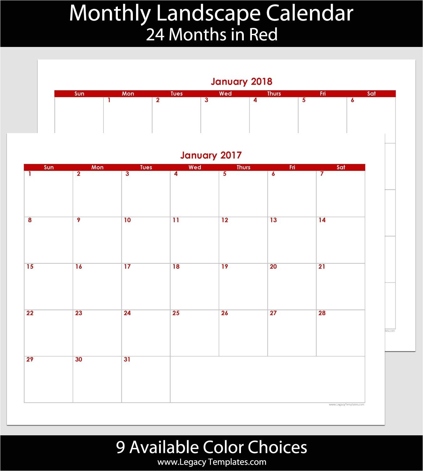 2017 2018 24 month landscape calendar 8 5 x 11