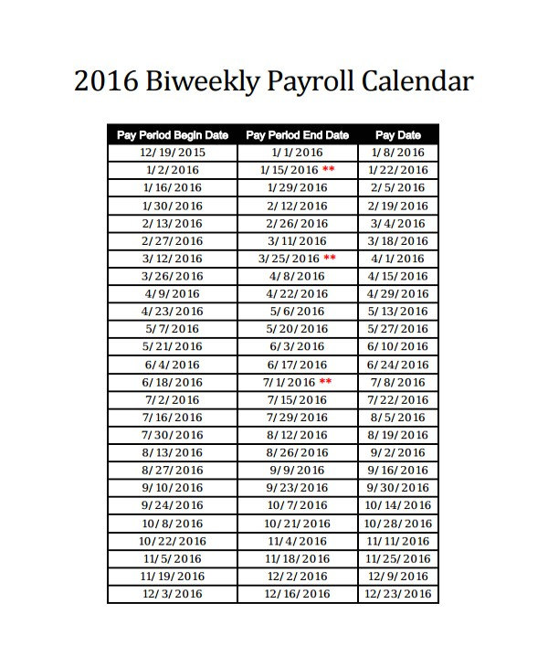 2016 bi weekly payroll calendar samples
